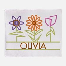Olivia with cute flowers Throw Blanket