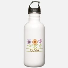 Olivia with cute flowers Sports Water Bottle