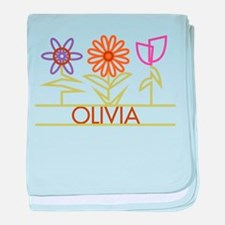 Olivia with cute flowers baby blanket