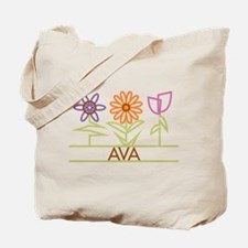 Ava with cute flowers Tote Bag