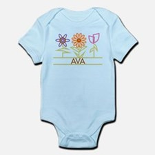 Ava with cute flowers Infant Bodysuit