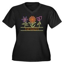 Nevaeh with cute flowers Women's Plus Size V-Neck