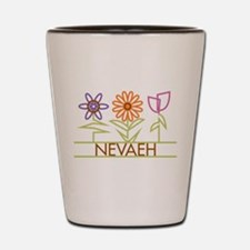 Nevaeh with cute flowers Shot Glass