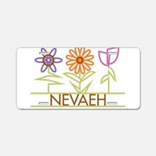 Nevaeh with cute flowers Aluminum License Plate
