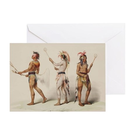 Native American Lacrosse Players Greeting Card