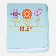 Riley with cute flowers baby blanket