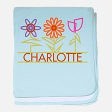 Charlotte with cute flowers baby blanket