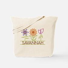 Savannah with cute flowers Tote Bag