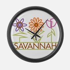 Savannah with cute flowers Large Wall Clock
