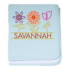 Savannah with cute flowers baby blanket