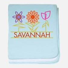 Savannah with cute flowers baby blanket