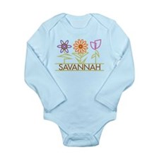 Savannah with cute flowers Long Sleeve Infant Body