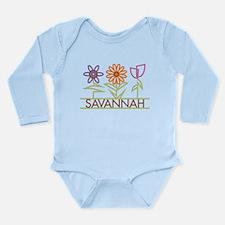 Savannah with cute flowers Long Sleeve Infant Body