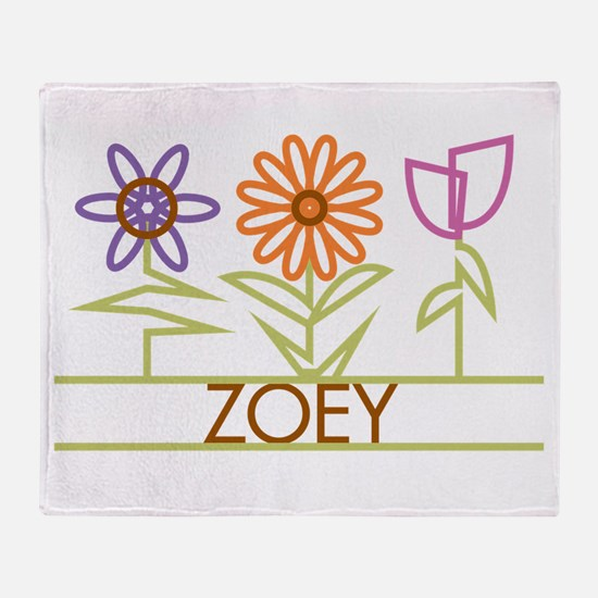 Zoey with cute flowers Throw Blanket