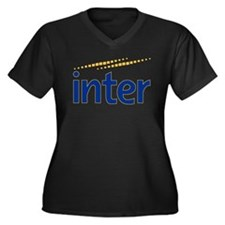 Inter milan Women's Plus Size V-Neck Dark T-Shirt