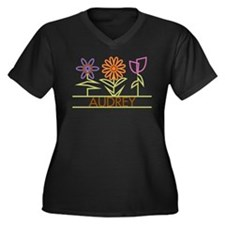 Audrey with cute flowers Women's Plus Size V-Neck
