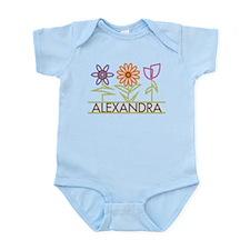 Alexandra with cute flowers Infant Bodysuit