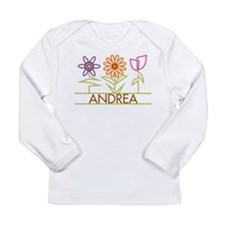 Andrea with cute flowers Long Sleeve Infant T-Shir