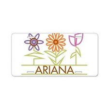 Ariana with cute flowers Aluminum License Plate