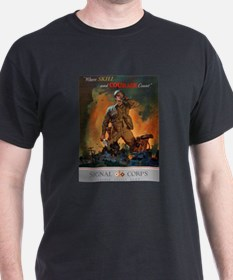 Army Skill and Courage (Front) Black T-Shirt
