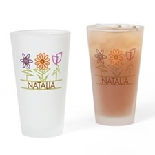 Natalia with cute flowers Drinking Glass