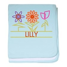 Lilly with cute flowers baby blanket