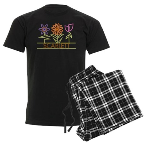 Scarlett with cute flowers Men's Dark Pajamas