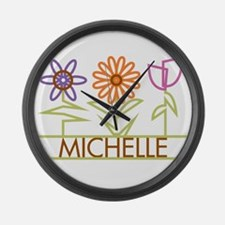 Michelle with cute flowers Large Wall Clock
