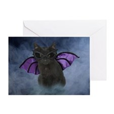 Vampire Cat Halloween Greeting Card