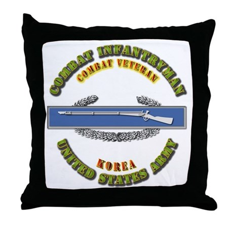 Army - CIB - 1st Award - Korea Throw Pillow