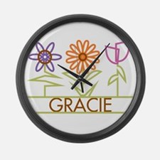 Gracie with cute flowers Large Wall Clock
