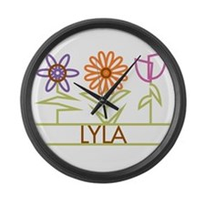 Lyla with cute flowers Large Wall Clock