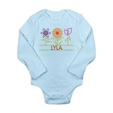 Lyla with cute flowers Long Sleeve Infant Bodysuit