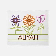 Aliyah with cute flowers Throw Blanket