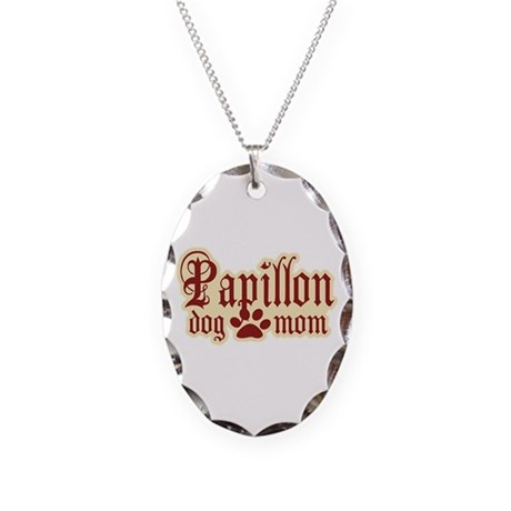 Papillon Mom Necklace Oval Charm
