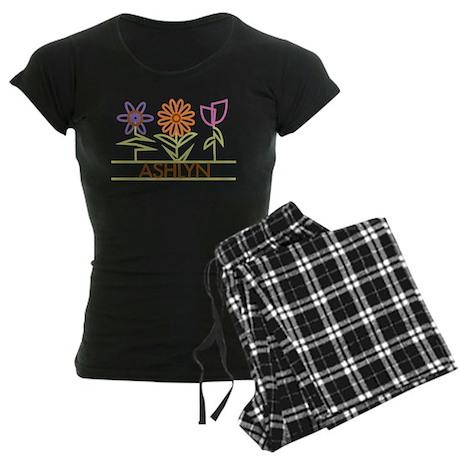 Ashlyn with cute flowers Women's Dark Pajamas