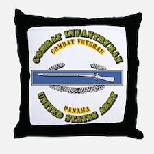 Army - CIB - 1st Award - Panama Throw Pillow