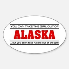 'Girl From Alaska' Sticker (Oval)