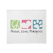 Peace, Love, Pomapoos Throw Blanket