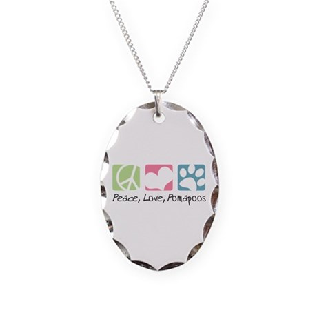 Peace, Love, Pomapoos Necklace Oval Charm