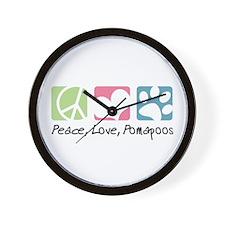 Peace, Love, Pomapoos Wall Clock