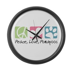 Peace, Love, Pomapoos Large Wall Clock