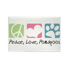 Peace, Love, Pomapoos Rectangle Magnet