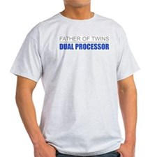 Father of Twins Dual Processor Ash Grey T-Shirt