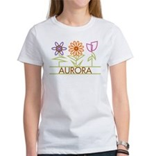 Aurora with cute flowers Tee