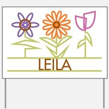 Leila with cute flowers Yard Sign