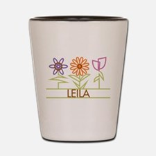 Leila with cute flowers Shot Glass