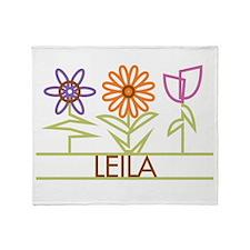 Leila with cute flowers Throw Blanket