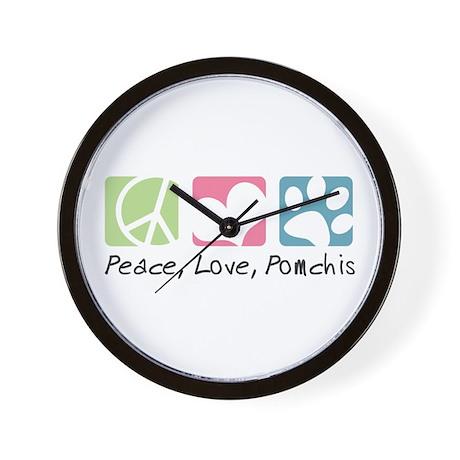 Peace, Love, Pomchis Wall Clock