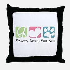 Peace, Love, Pomchis Throw Pillow